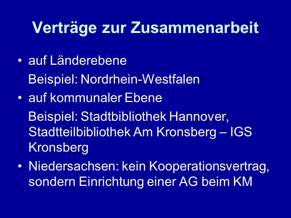 Verträge zur Zusammenarbeit auf Länderebene Beispiel: Nordrhein-Westfalen auf kommunaler Ebene Beispiel: Stadtbibliothek Hannover, Stadtteilbibliothek