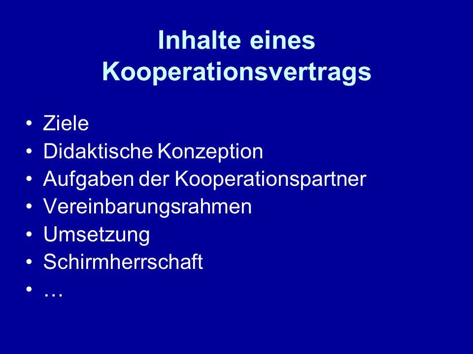 Inhalte eines Kooperationsvertrags Ziele Didaktische Konzeption Aufgaben der Kooperationspartner Vereinbarungsrahmen Umsetzung Schirmherrschaft …