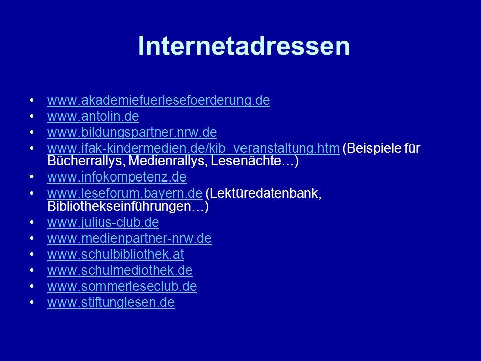 Internetadressen www.akademiefuerlesefoerderung.de www.antolin.de www.bildungspartner.nrw.de www.ifak-kindermedien.de/kib_veranstaltung.htm (Beispiele