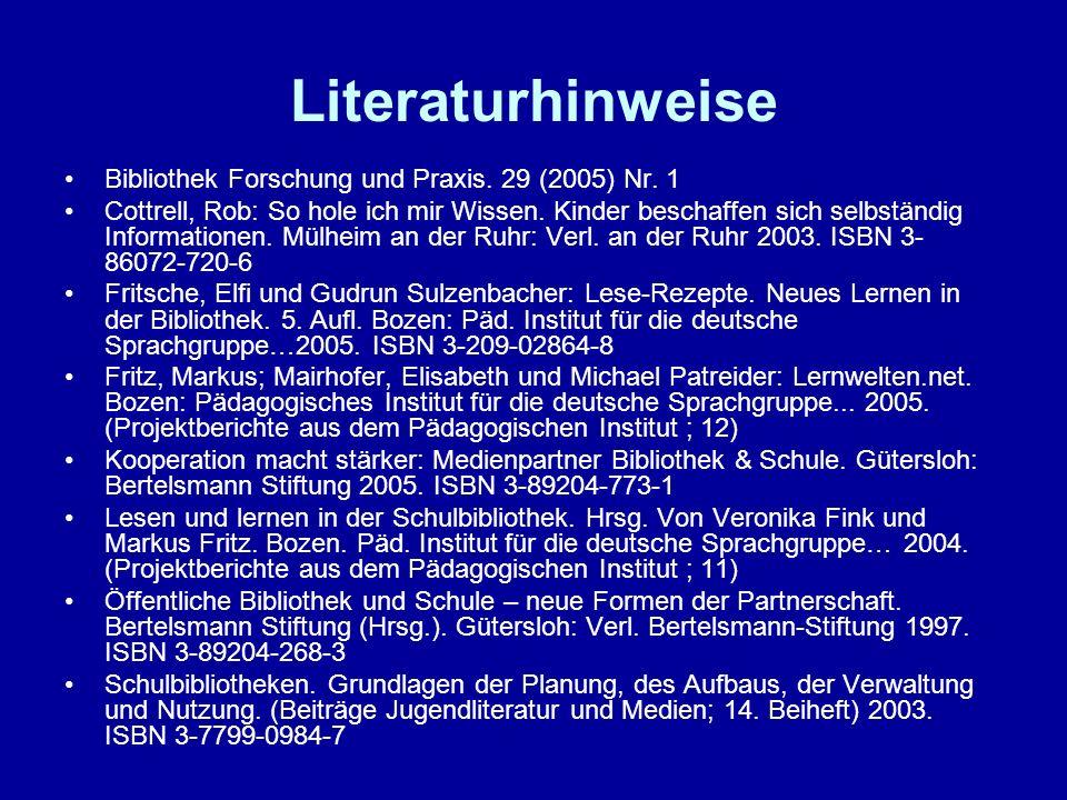 Literaturhinweise Bibliothek Forschung und Praxis. 29 (2005) Nr. 1 Cottrell, Rob: So hole ich mir Wissen. Kinder beschaffen sich selbständig Informati