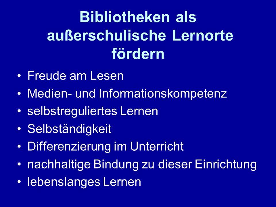 Internetadressen www.akademiefuerlesefoerderung.de www.antolin.de www.bildungspartner.nrw.de www.ifak-kindermedien.de/kib_veranstaltung.htm (Beispiele für Bücherrallys, Medienrallys, Lesenächte…)www.ifak-kindermedien.de/kib_veranstaltung.htm www.infokompetenz.de www.leseforum.bayern.de (Lektüredatenbank, Bibliothekseinführungen…)www.leseforum.bayern.de www.julius-club.de www.medienpartner-nrw.de www.schulbibliothek.at www.schulmediothek.de www.sommerleseclub.de www.stiftunglesen.de