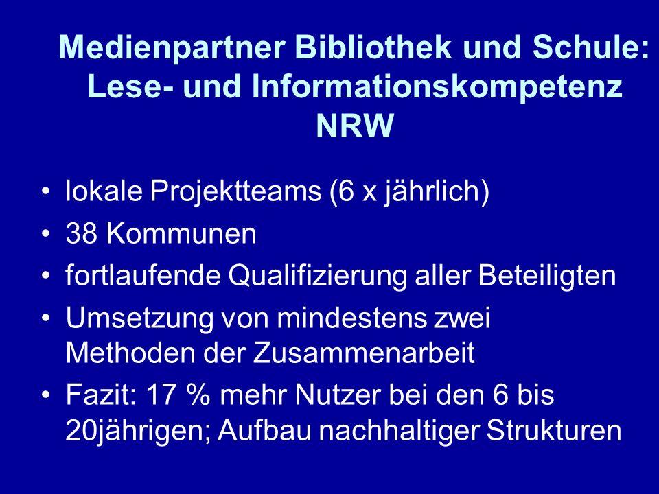 Medienpartner Bibliothek und Schule: Lese- und Informationskompetenz NRW lokale Projektteams (6 x jährlich) 38 Kommunen fortlaufende Qualifizierung al