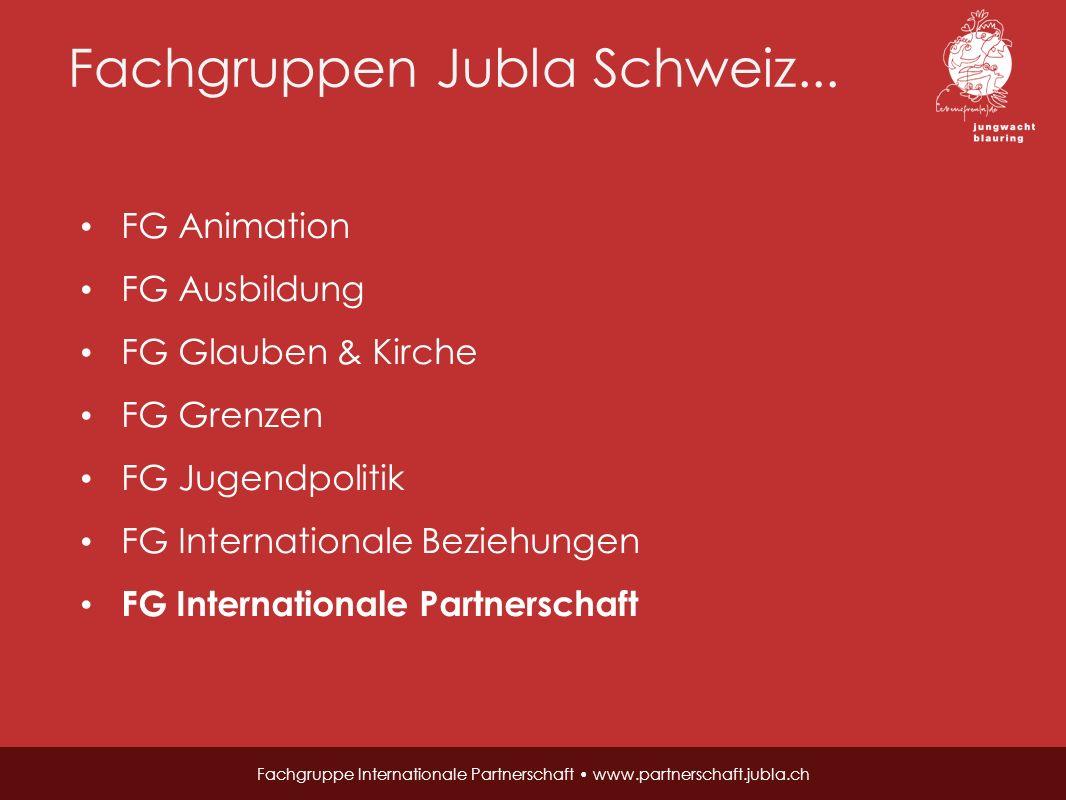 Fachgruppen Jubla Schweiz... Fachgruppe Internationale Partnerschaft www.partnerschaft.jubla.ch FG Animation FG Ausbildung FG Glauben & Kirche FG Gren