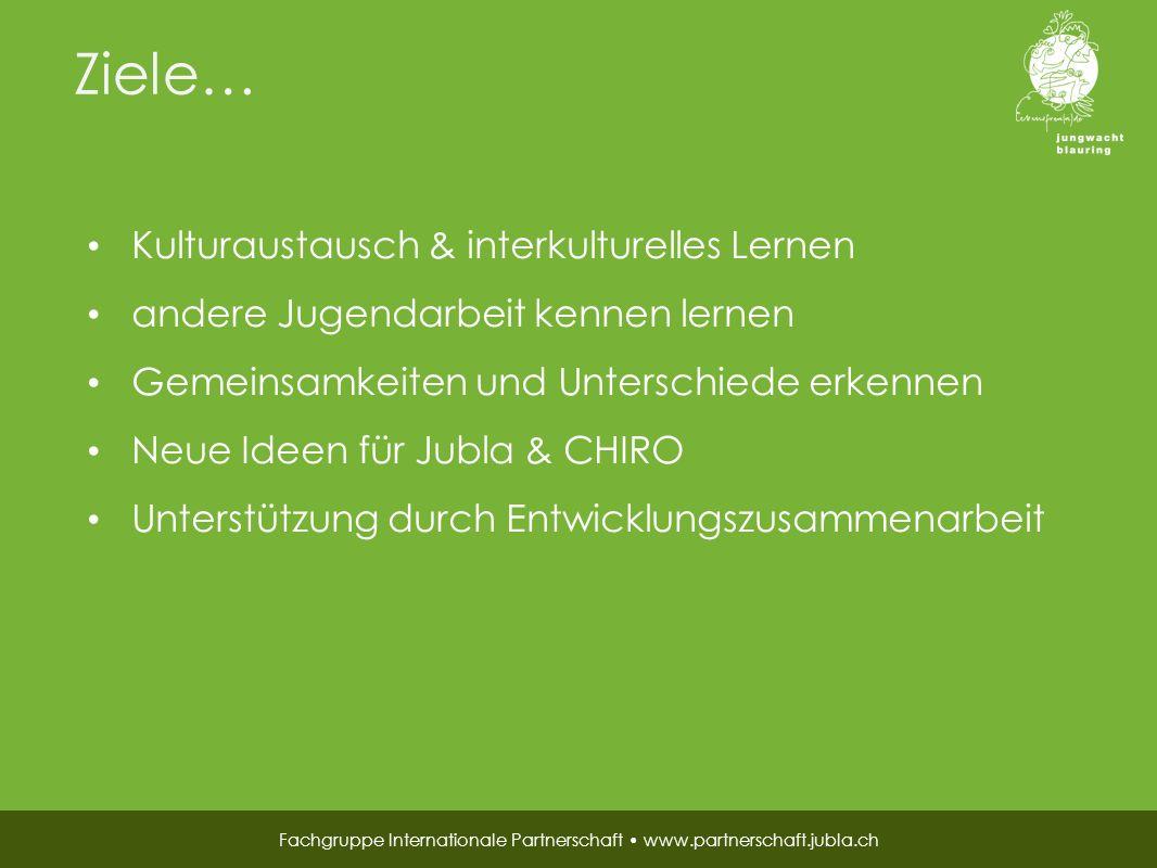 Finanzierung… Fachgruppe Internationale Partnerschaft www.partnerschaft.jubla.ch beide Verbände Fastenopfer Jährliche nationale Sammelaktion der Jubla Spendeneinnahmen an Anlässen während Besuch