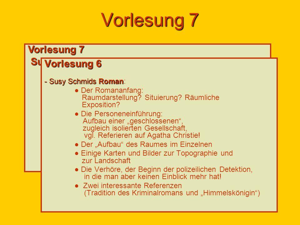 Vorlesung 7 Susy Schmids Roman Das Wüste lebt: - Der allmähliche Aufbau des Raumes: 2 Arten der Raumdarstellung und der Fall Beatrice Gebhardt: Zu erwarten wäre, dass Evi so etwas wie eine Alternativdetektion zur polizeilichen unternimmt.