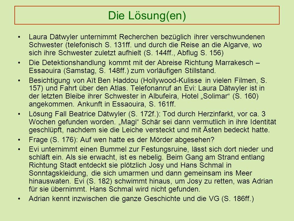 Die Lösung(en) Laura Dätwyler unternimmt Recherchen bezüglich ihrer verschwundenen Schwester (telefonisch S.