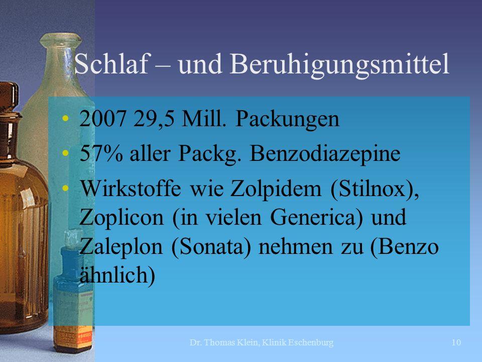 Schlaf – und Beruhigungsmittel 2007 29,5 Mill. Packungen 57% aller Packg. Benzodiazepine Wirkstoffe wie Zolpidem (Stilnox), Zoplicon (in vielen Generi