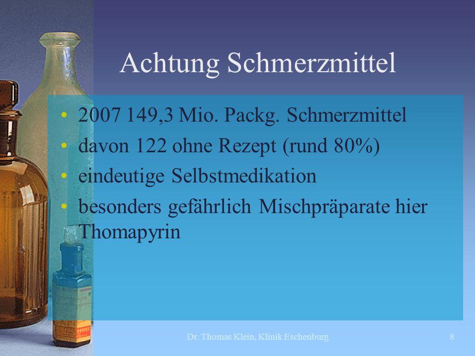Achtung Schmerzmittel 2007 149,3 Mio. Packg. Schmerzmittel davon 122 ohne Rezept (rund 80%) eindeutige Selbstmedikation besonders gefährlich Mischpräp
