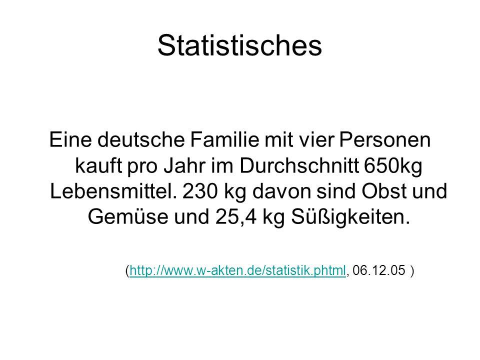 Statistisches Eine deutsche Familie mit vier Personen kauft pro Jahr im Durchschnitt 650kg Lebensmittel. 230 kg davon sind Obst und Gemüse und 25,4 kg