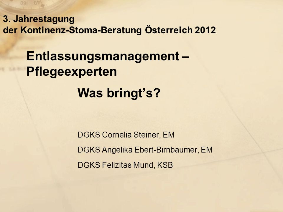 Entlassungsmanagement – Pflegeexperten Was bringts.