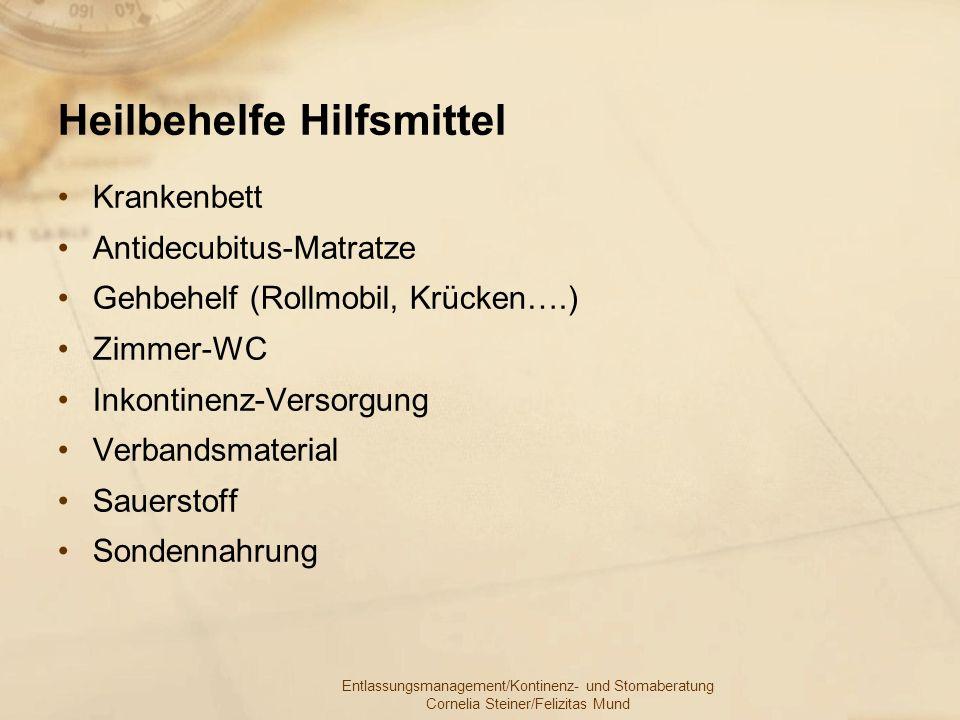 Entlassungsmanagement/Kontinenz- und Stomaberatung Cornelia Steiner/Felizitas Mund Heilbehelfe Hilfsmittel Krankenbett Antidecubitus-Matratze Gehbehel