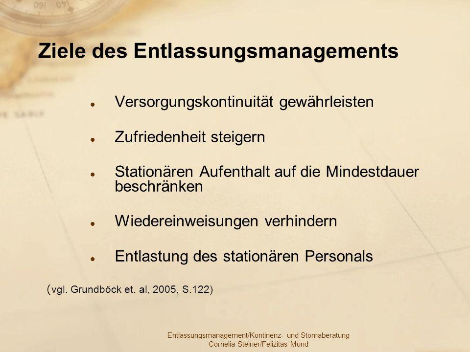 Entlassungsmanagement/Kontinenz- und Stomaberatung Cornelia Steiner/Felizitas Mund Ziele des Entlassungsmanagements Versorgungskontinuität gewährleist
