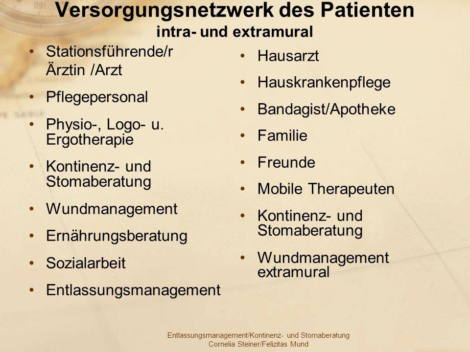 Entlassungsmanagement/Kontinenz- und Stomaberatung Cornelia Steiner/Felizitas Mund Versorgungsnetzwerk des Patienten intra- und extramural Stationsfüh