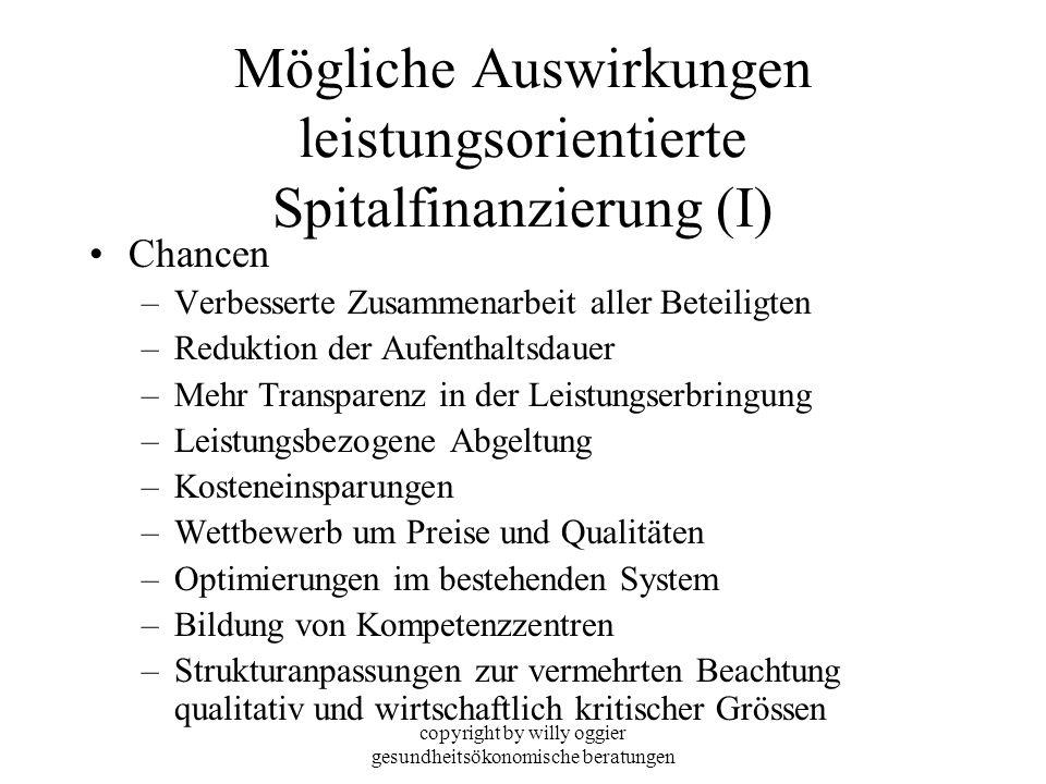 copyright by willy oggier gesundheitsökonomische beratungen Mögliche Auswirkungen leistungsorientierte Spitalfinanzierung (I) Chancen –Verbesserte Zus