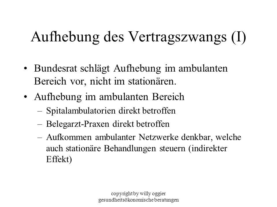 copyright by willy oggier gesundheitsökonomische beratungen Aufhebung des Vertragszwangs (I) Bundesrat schlägt Aufhebung im ambulanten Bereich vor, ni