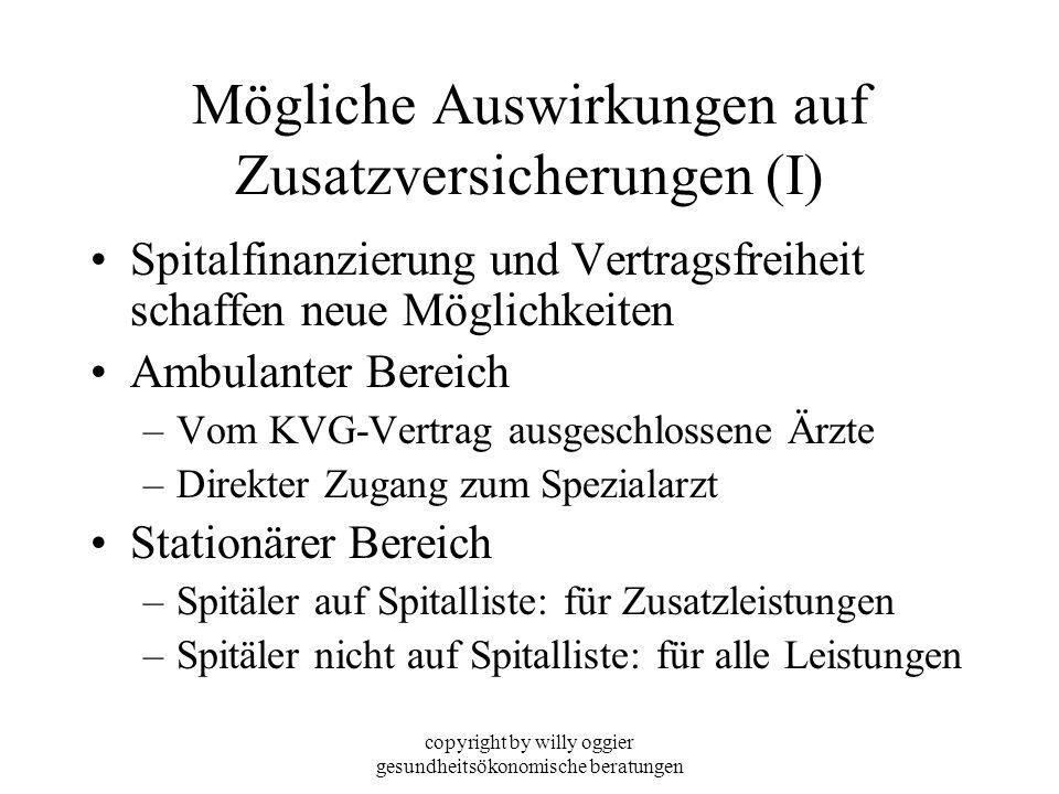 copyright by willy oggier gesundheitsökonomische beratungen Mögliche Auswirkungen auf Zusatzversicherungen (I) Spitalfinanzierung und Vertragsfreiheit