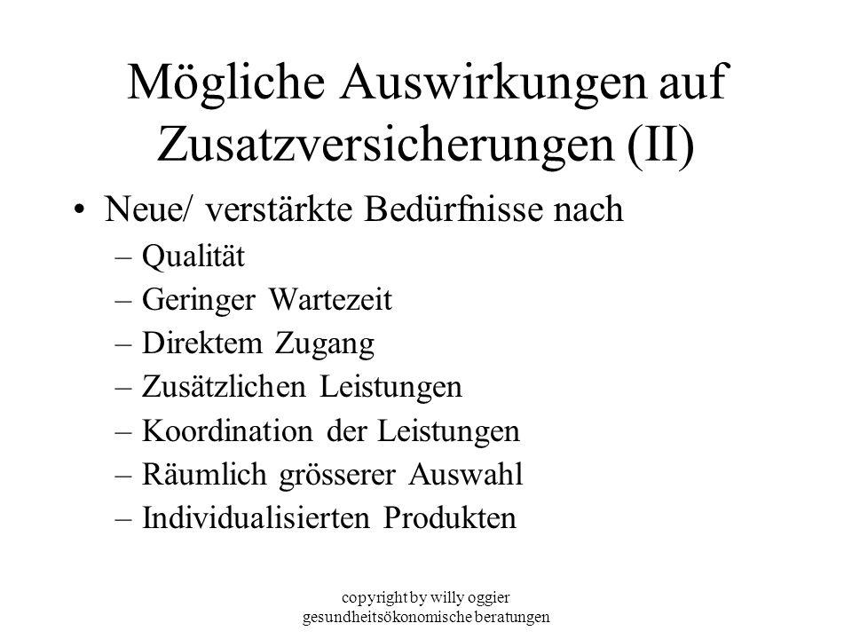 copyright by willy oggier gesundheitsökonomische beratungen Mögliche Auswirkungen auf Zusatzversicherungen (II) Neue/ verstärkte Bedürfnisse nach –Qua