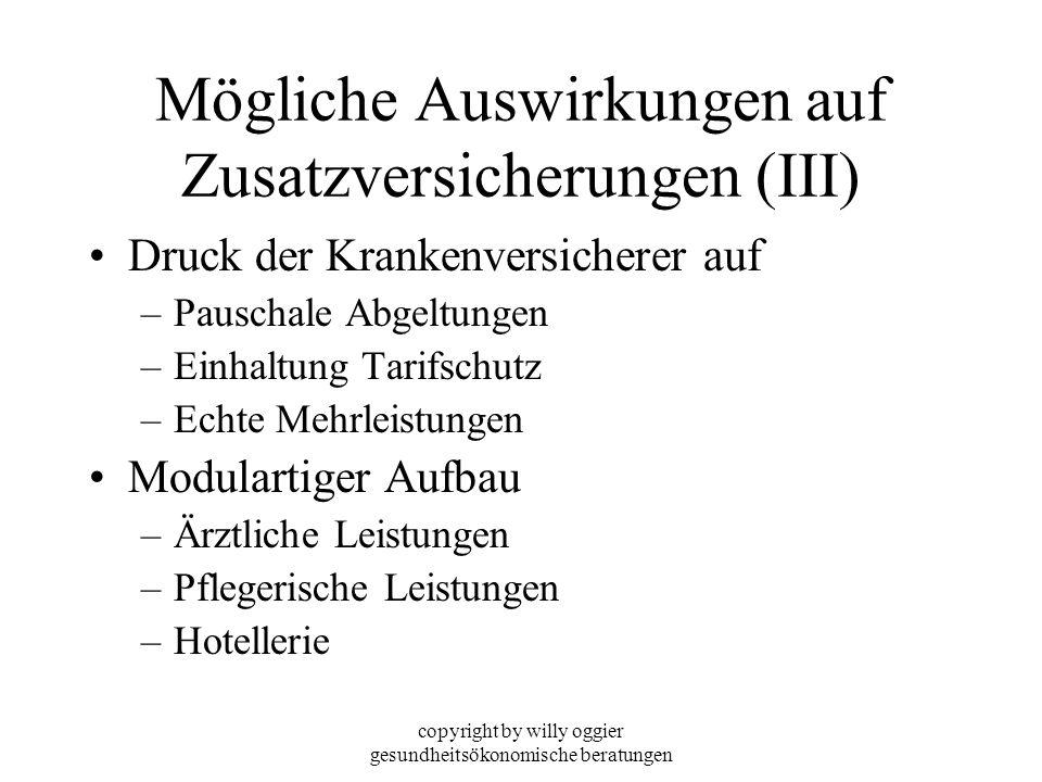 copyright by willy oggier gesundheitsökonomische beratungen Mögliche Auswirkungen auf Zusatzversicherungen (III) Druck der Krankenversicherer auf –Pau