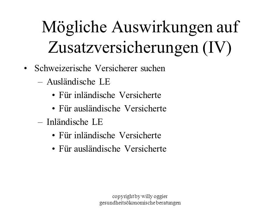 copyright by willy oggier gesundheitsökonomische beratungen Mögliche Auswirkungen auf Zusatzversicherungen (IV) Schweizerische Versicherer suchen –Aus