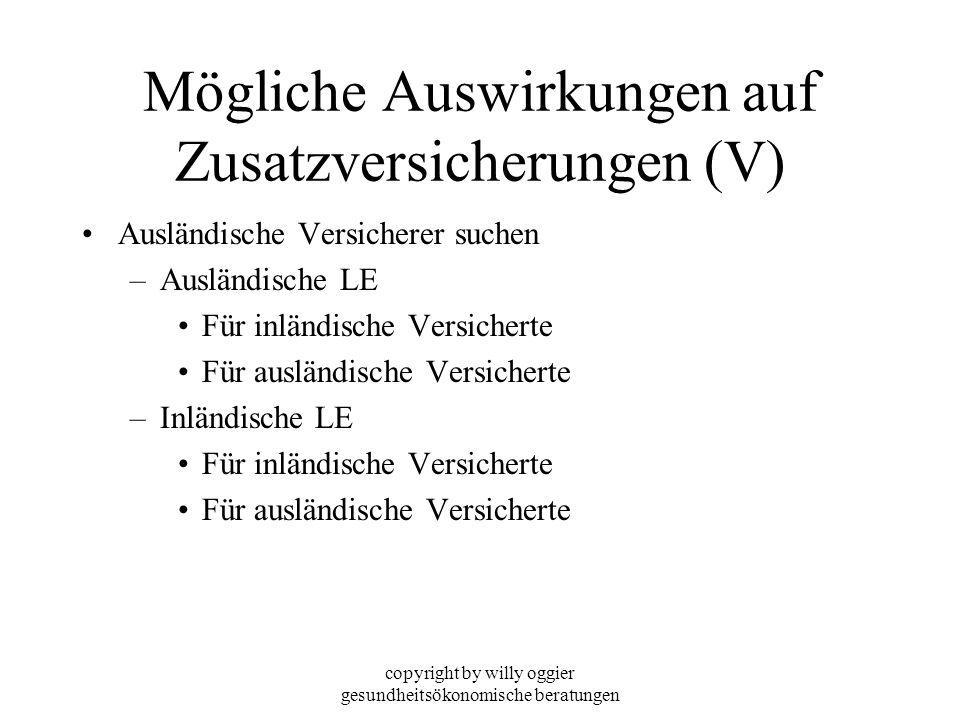 copyright by willy oggier gesundheitsökonomische beratungen Mögliche Auswirkungen auf Zusatzversicherungen (V) Ausländische Versicherer suchen –Auslän
