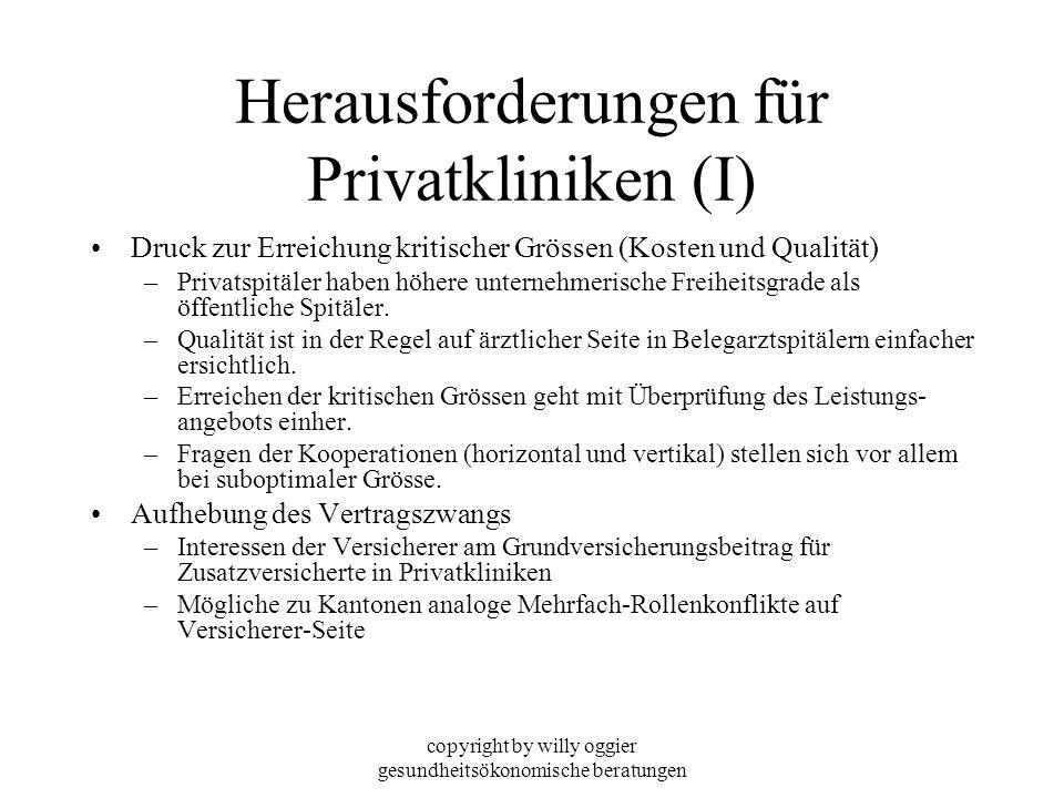 copyright by willy oggier gesundheitsökonomische beratungen Herausforderungen für Privatkliniken (I) Druck zur Erreichung kritischer Grössen (Kosten u