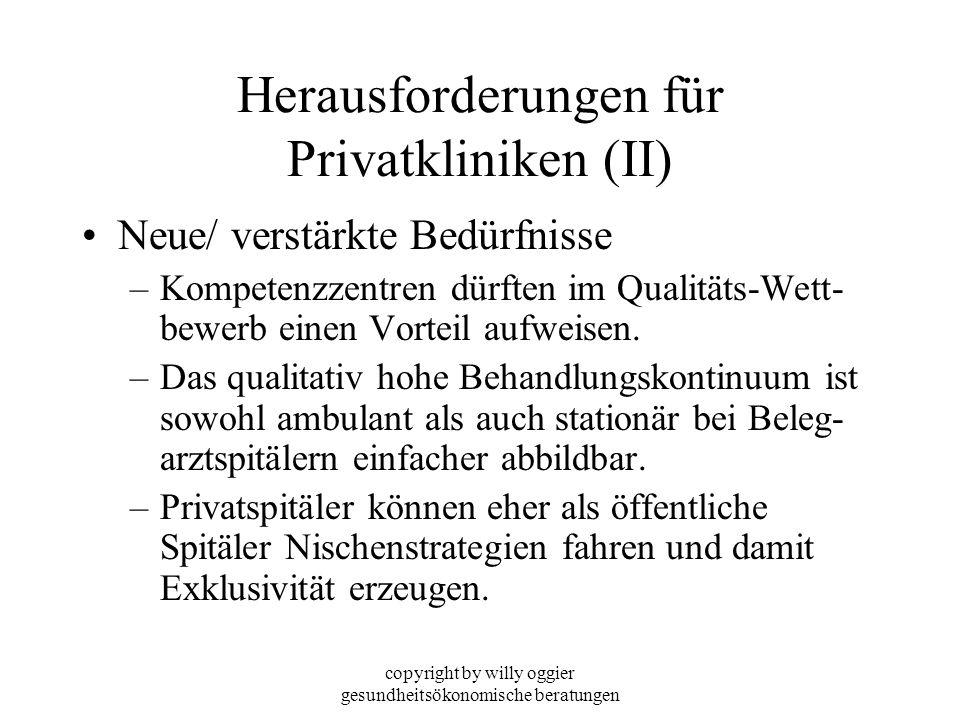 copyright by willy oggier gesundheitsökonomische beratungen Herausforderungen für Privatkliniken (II) Neue/ verstärkte Bedürfnisse –Kompetenzzentren d