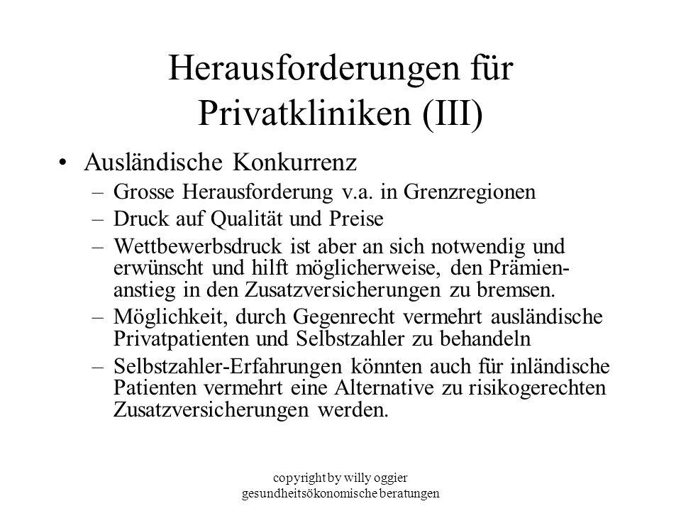 copyright by willy oggier gesundheitsökonomische beratungen Herausforderungen für Privatkliniken (III) Ausländische Konkurrenz –Grosse Herausforderung