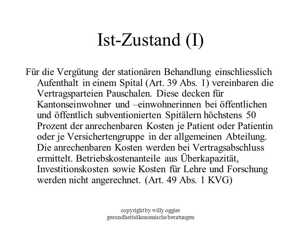 copyright by willy oggier gesundheitsökonomische beratungen Ist-Zustand (I) Für die Vergütung der stationären Behandlung einschliesslich Aufenthalt in