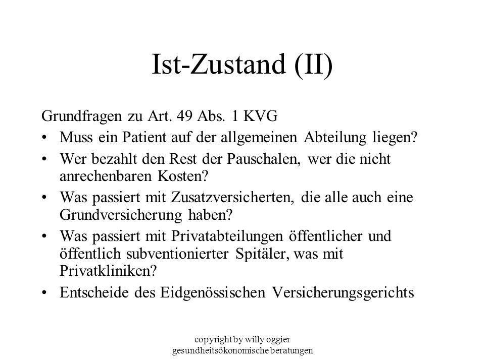 copyright by willy oggier gesundheitsökonomische beratungen Ist-Zustand (II) Grundfragen zu Art. 49 Abs. 1 KVG Muss ein Patient auf der allgemeinen Ab