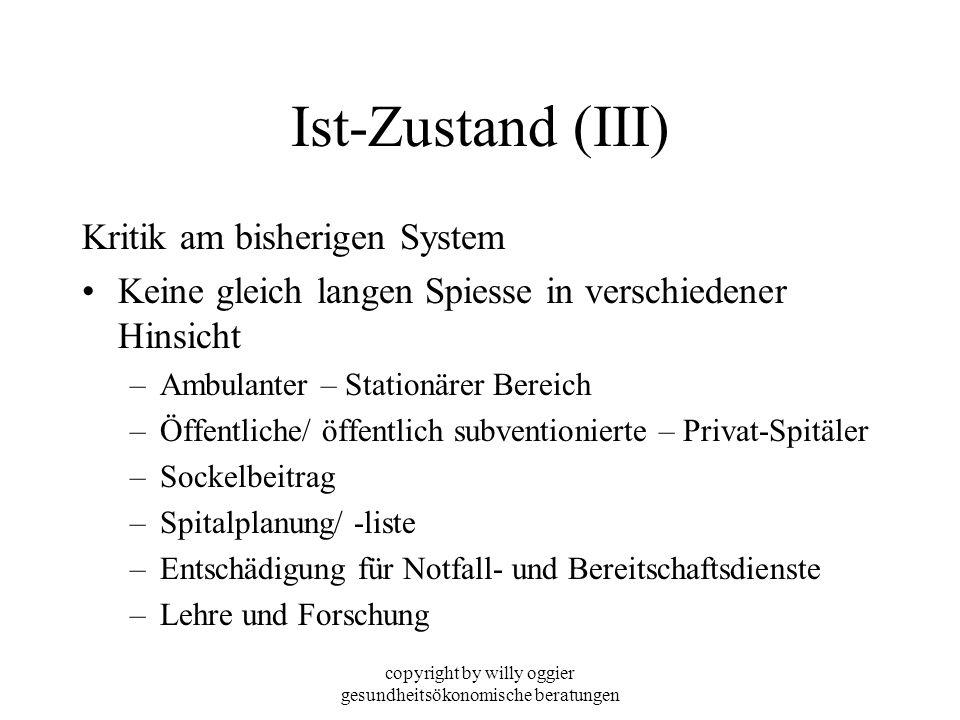 copyright by willy oggier gesundheitsökonomische beratungen Ist-Zustand (III) Kritik am bisherigen System Keine gleich langen Spiesse in verschiedener