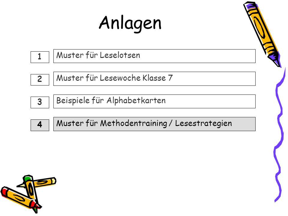 Anlagen Muster für Methodentraining / Lesestrategien Muster für Leselotsen Muster für Lesewoche Klasse 7 Beispiele für Alphabetkarten 1 2 3 4