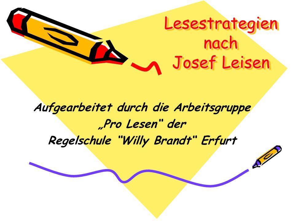 Lesestrategien nach Josef Leisen Aufgearbeitet durch die Arbeitsgruppe Pro Lesen der Regelschule Willy Brandt Erfurt