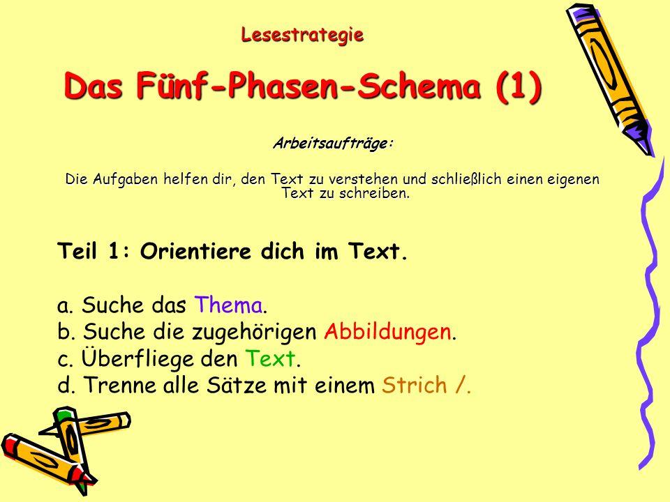 Lesestrategie Das Fünf-Phasen-Schema (1) Arbeitsaufträge: Die Aufgaben helfen dir, den Text zu verstehen und schließlich einen eigenen Text zu schreiben.