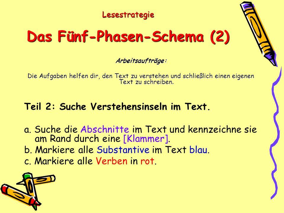 Lesestrategie Das Fünf-Phasen-Schema (2) Arbeitsaufträge: Die Aufgaben helfen dir, den Text zu verstehen und schließlich einen eigenen Text zu schreiben.