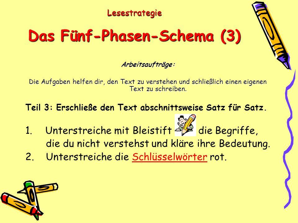 Lesestrategie Das Fünf-Phasen-Schema (3) Arbeitsaufträge: Die Aufgaben helfen dir, den Text zu verstehen und schließlich einen eigenen Text zu schreiben.
