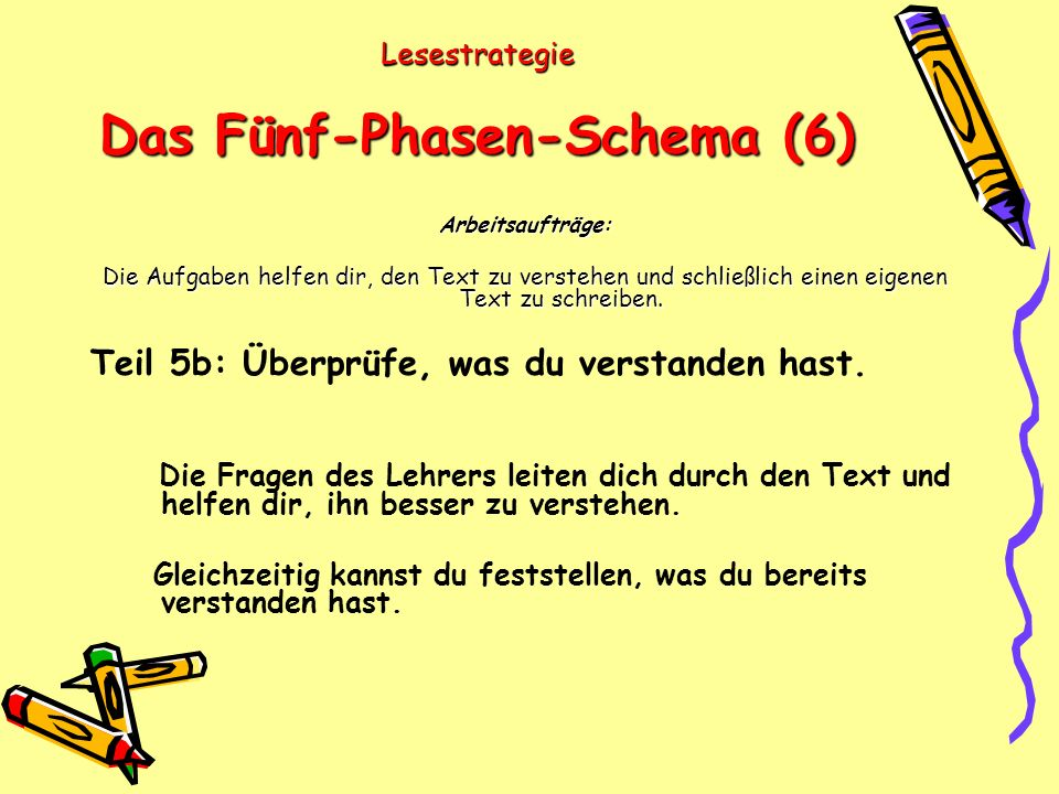 Lesestrategie Das Fünf-Phasen-Schema (6) Arbeitsaufträge: Die Aufgaben helfen dir, den Text zu verstehen und schließlich einen eigenen Text zu schreiben.