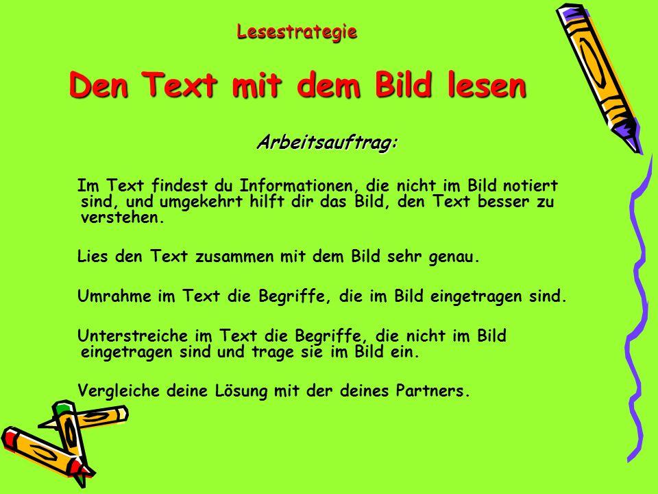 Lesestrategie Den Text mit dem Bild lesen Arbeitsauftrag: Im Text findest du Informationen, die nicht im Bild notiert sind, und umgekehrt hilft dir das Bild, den Text besser zu verstehen.