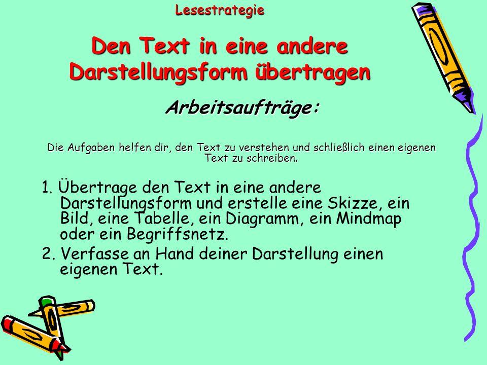 Lesestrategie Den Text in eine andere Darstellungsform übertragen Arbeitsaufträge: Die Aufgaben helfen dir, den Text zu verstehen und schließlich einen eigenen Text zu schreiben.