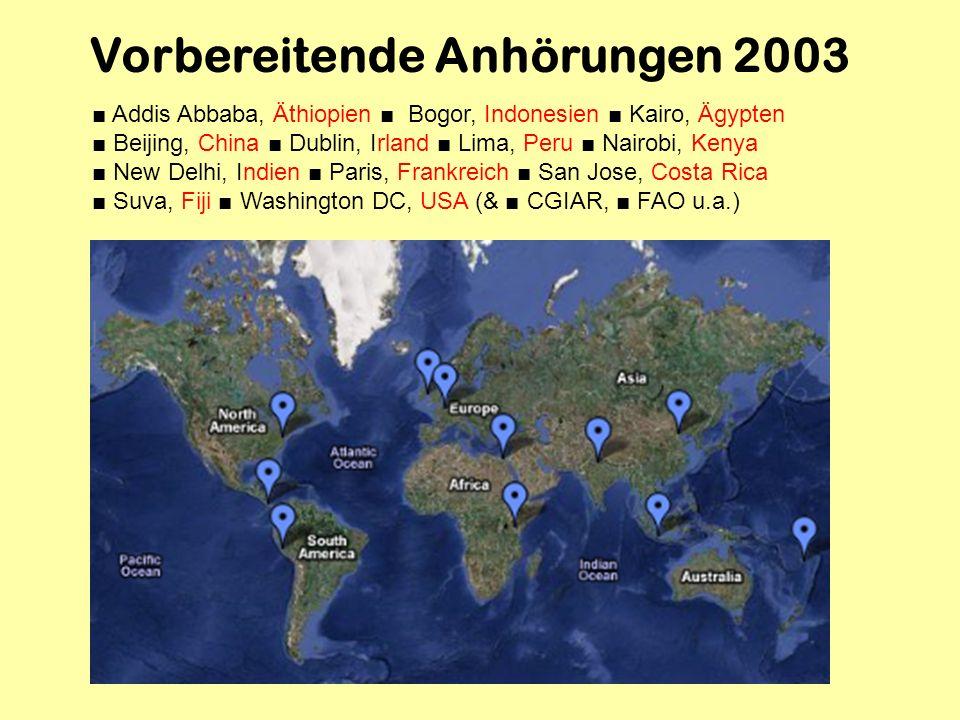 Vorbereitende Anhörungen 2003 Addis Abbaba, Äthiopien Bogor, Indonesien Kairo, Ägypten Beijing, China Dublin, Irland Lima, Peru Nairobi, Kenya New Del