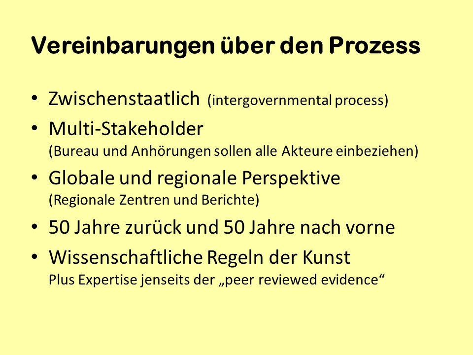 Vereinbarungen über den Prozess Zwischenstaatlich (intergovernmental process) Multi-Stakeholder (Bureau und Anhörungen sollen alle Akteure einbeziehen