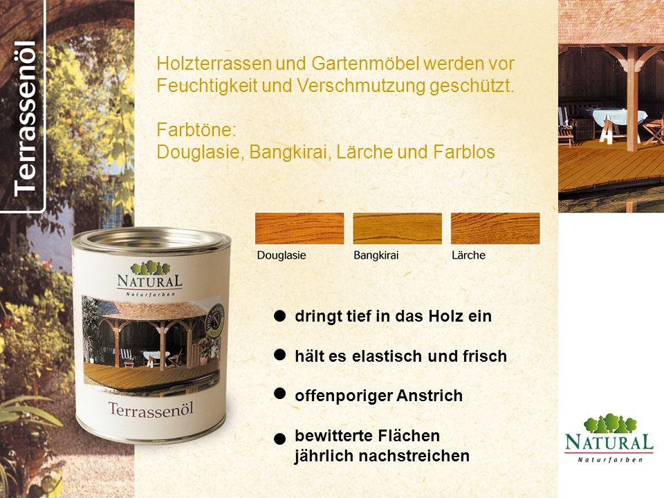 Holzterrassen und Gartenmöbel werden vor Feuchtigkeit und Verschmutzung geschützt. Farbtöne: Douglasie, Bangkirai, Lärche und Farblos dringt tief in d