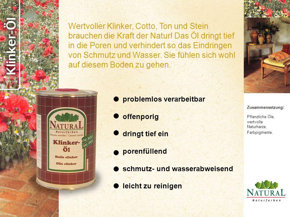 Zusammensetzung: Pflanzliche Öle, wertvolle Naturharze, Farbpigmente.
