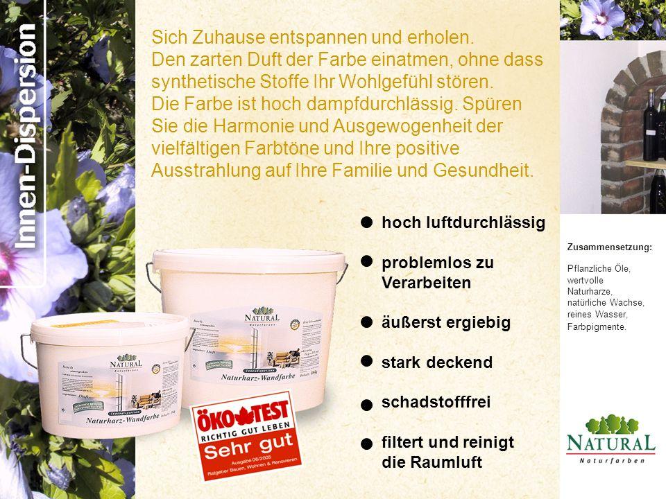 Zusammensetzung: Pflanzliche Öle, wertvolle Naturharze, natürliche Wachse, reines Wasser, Farbpigmente.
