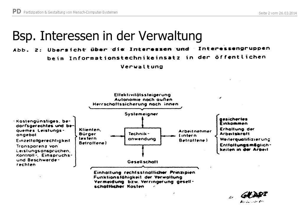 PD Partizipation & Gestaltung von Mensch-Computer-Systemen Seite 3 vom 26.03.2014 Weitere Gruppen Führungsetage - oben Systembetreuer - Systemverkäufer Entwickler