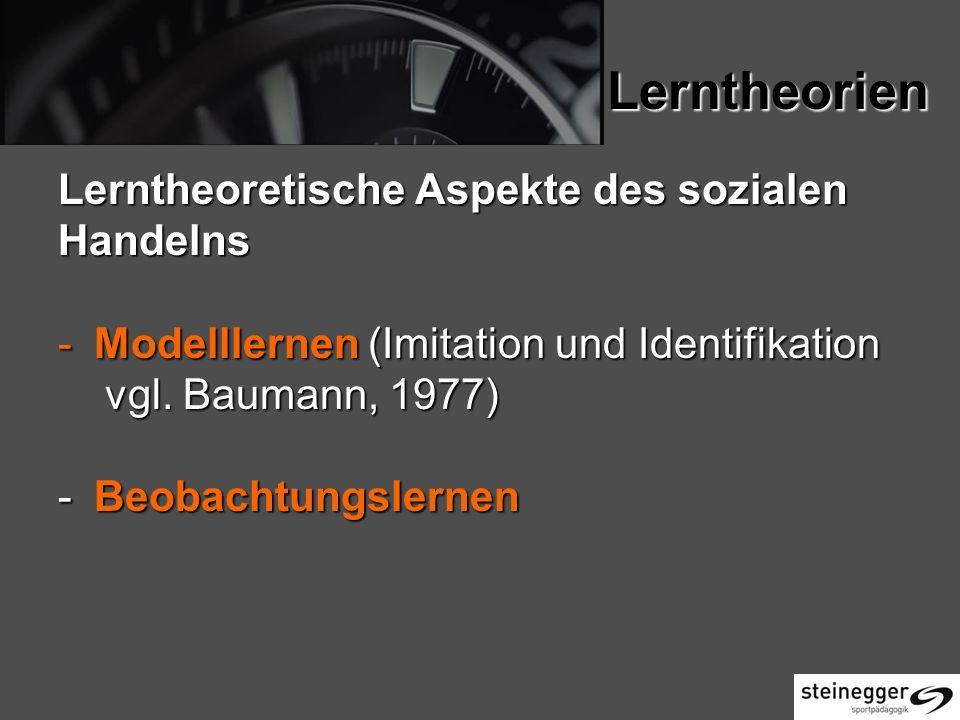 Lerntheorien Lerntheoretische Aspekte des sozialen Handelns -Modelllernen (Imitation und Identifikation vgl.