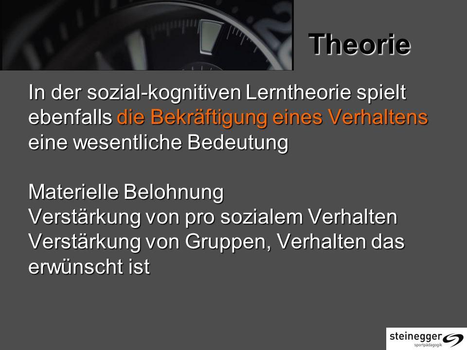 Theorie In der sozial-kognitiven Lerntheorie spielt ebenfalls die Bekräftigung eines Verhaltens eine wesentliche Bedeutung Materielle Belohnung Verstärkung von pro sozialem Verhalten Verstärkung von Gruppen, Verhalten das erwünscht ist