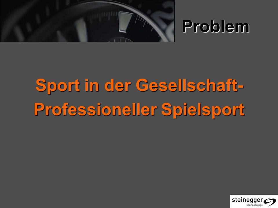 Problem Sport in der Gesellschaft- Professioneller Spielsport