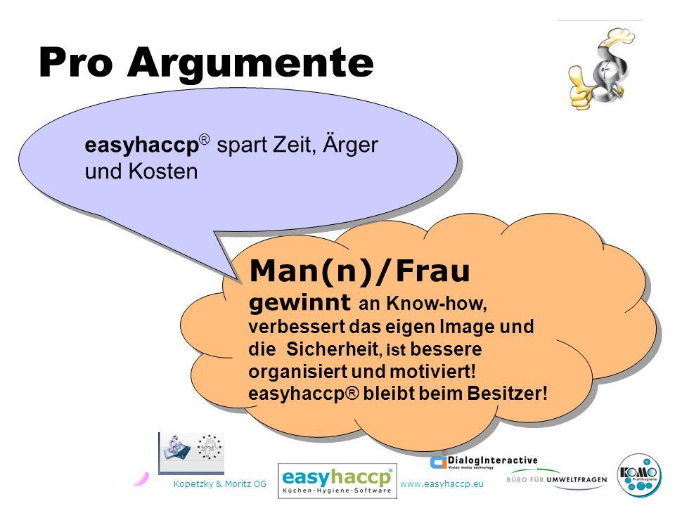 Kopetzky & Moritz OGwww.easyhaccp.eu Man(n)/Frau gewinnt an Know-how, verbessert das eigen Image und die Sicherheit, ist bessere organisiert und motiviert.