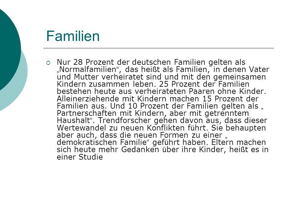 Familien Nur 28 Prozent der deutschen Familien gelten als Normalfamilien, das hei ß t als Familien, in denen Vater und Mutter verheiratet sind und mit den gemeinsamen Kindern zusammen leben.