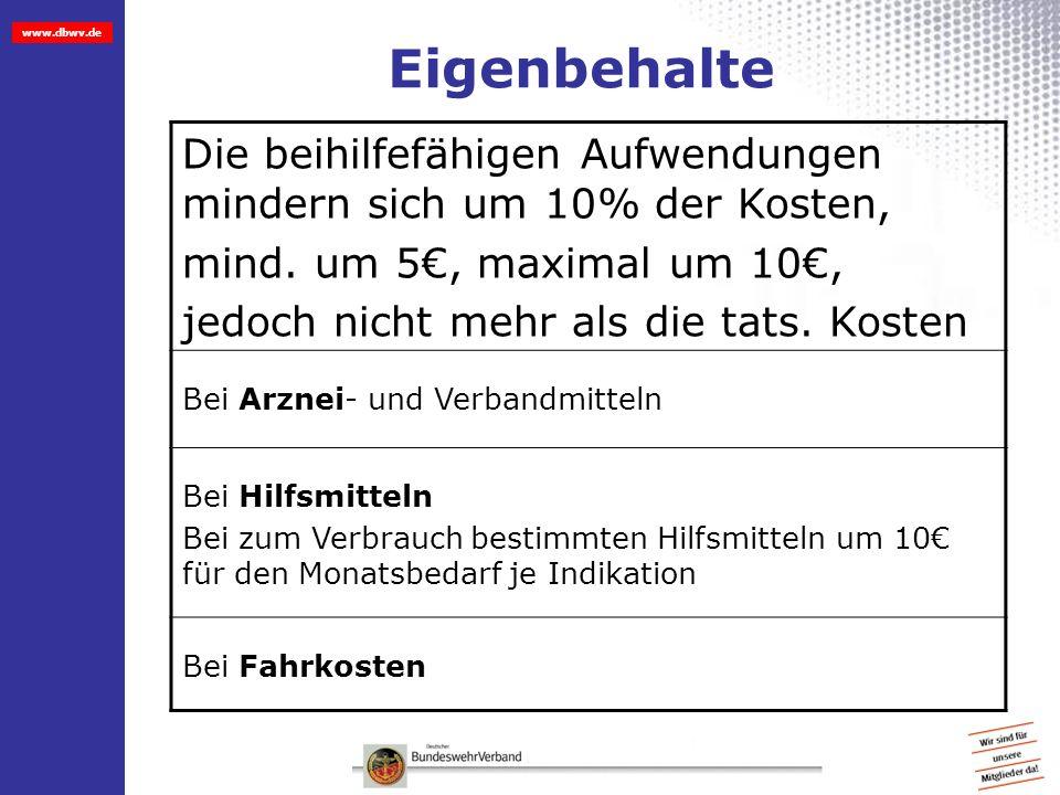 www.dbwv.de Eigenbehalte Die beihilfefähigen Aufwendungen mindern sich um 10% der Kosten, mind. um 5, maximal um 10, jedoch nicht mehr als die tats. K